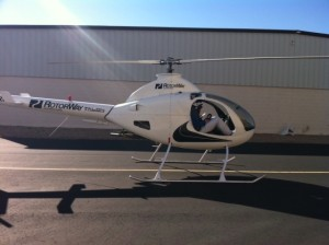 Test flying a Rotorway kit built helicopter in Chandler, AZ; doors open and just 45 degrees!